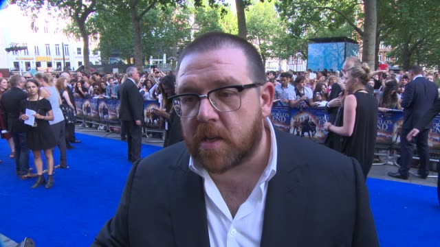 nick frost on working with simon pegg and edgar wright, the chemistry, on drinking at 'the world's end' world premiere at empire leicester square on... - the world's end stock videos & royalty-free footage