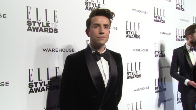 nick grimshaw at elle style awards arrivals at one embankment on february 18 2014 in london england - embankment stock videos and b-roll footage