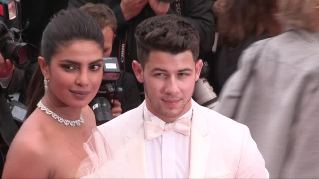 Nick Jonas and Priyanka Chopra on the red carpet for the premiere of les plus belles annees d'une vie during the 72nd annual Cannes Film Festival...