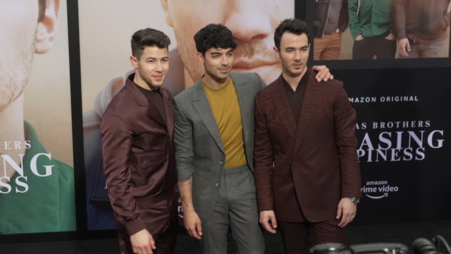 nick jonas joe jonas and kevin jonas at the jonas brothers' chasing happiness world premiere at regency bruin theatre on june 03 2019 in los angeles... - bruin theater stock videos & royalty-free footage