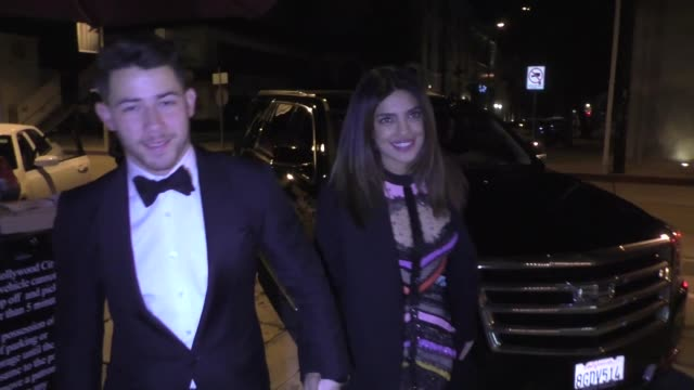 Nick Jonas Priyanka Chopra hold hands as they arrive for dinner at Craig's restaurant in West Hollywood in Celebrity Sightings in Los Angeles