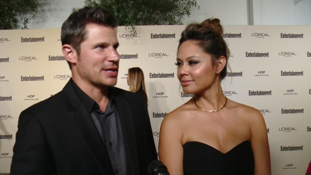 interview nick lachey and vanessa lachey on favorite television moments from this past season and on what entertainment weekly means to them at... - nick lachey stock videos & royalty-free footage