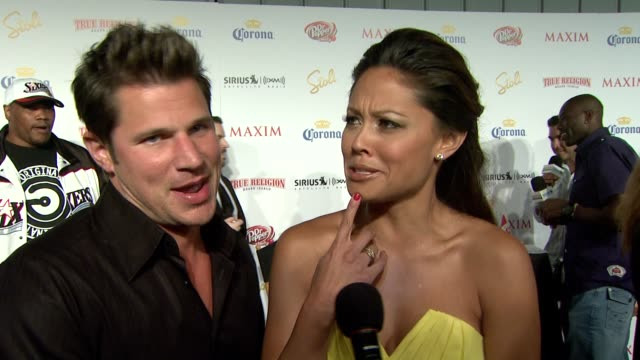 nick lachey and vanessa minnillo on vanessa being on the list in the past on what makes someone hot on who they liked seeing on the list on the party... - nick lachey stock videos & royalty-free footage