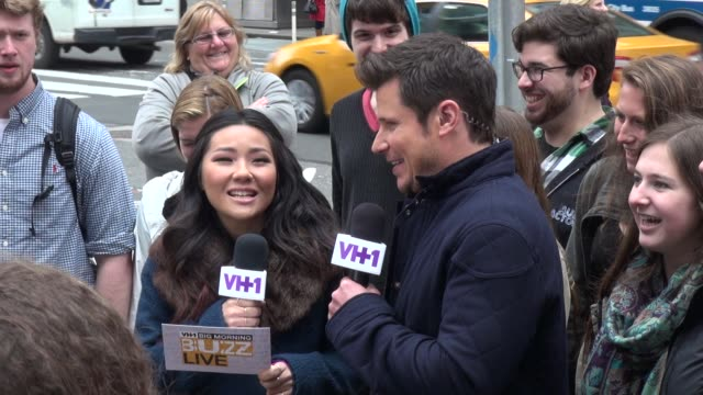 nick lachey answers fans questions in times square in celebrity sightings in new york - nick lachey stock videos & royalty-free footage