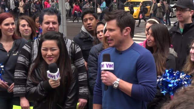 nick lachey host of vh1's big morning buzz live being interviewed in times square in celebrity sightings in new york - nick lachey stock videos & royalty-free footage