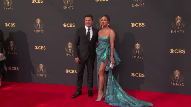 nick lachey, vanessa lachey arrives to the 73rd annual primetime emmy awards at l.a. live on september 19, 2021 in los angeles, california. - emmy awards stock videos & royalty-free footage