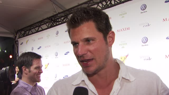 nick lachey who he thinks will win the superbowl if he is going to the game why miami is such a hot city why everyon loves hanging out in miami what... - nick lachey stock videos & royalty-free footage