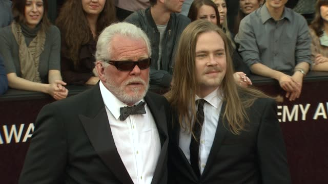 nick nolte and brawley nolte at 84th annual academy awards - arrivals on 2/26/12 in hollywood, ca. - nick nolte stock-videos und b-roll-filmmaterial