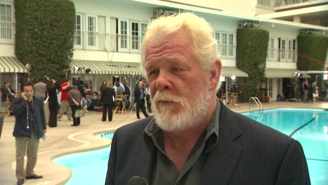 nick nolte on the luncheon, what they were told about oscar speeches, on seeing lots of old friends and colleagues, how awards season has kept him... - nick nolte stock-videos und b-roll-filmmaterial