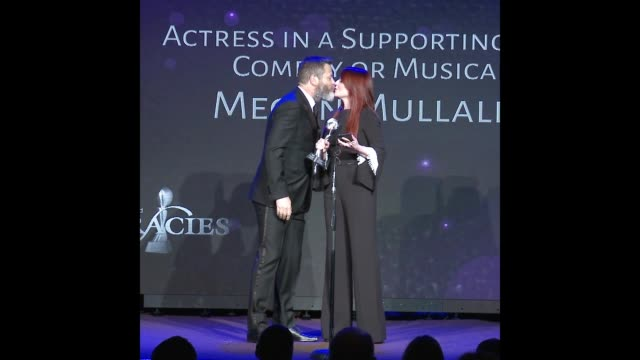 nick offerman and megan mullally at the 43rd annual gracie awards - megan mullally stock videos and b-roll footage