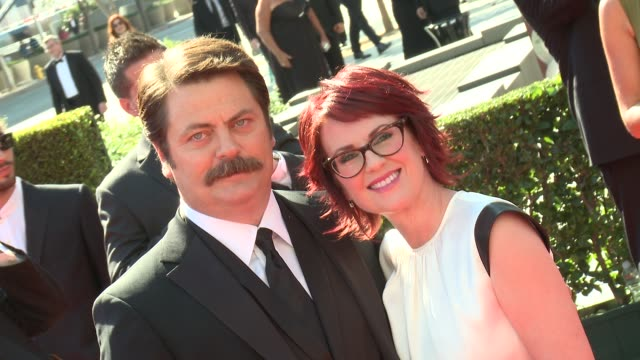nick offerman megan mullally at 2012 creative arts emmy awards arrivals on 9/15/2012 in los angeles ca - megan mullally stock videos and b-roll footage