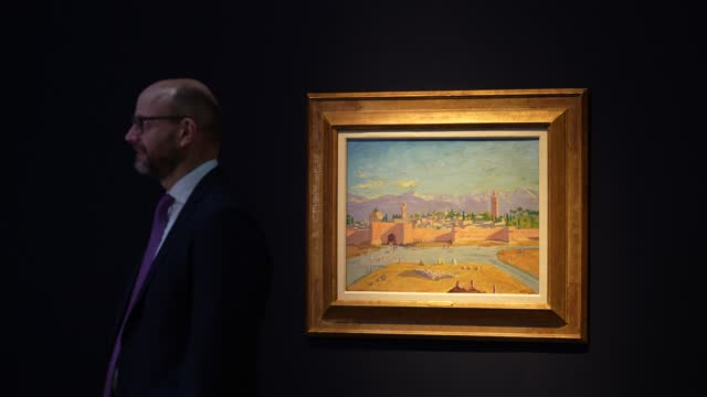 nick orchard, head of modern british art at christie's being interview in front of a painting by sir winston churchill, painted in wwii, the 'tower... - orchard stock videos & royalty-free footage