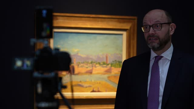 nick orchard, head of modern british art at christie's being interview in front of a painting by sir winston churchill, painted in wwii, the 'tower... - art and craft stock videos & royalty-free footage