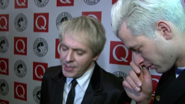 stockvideo's en b-roll-footage met nick rhodes and mark ronson on the style of music of duran duran and how mark ronson produces at the q awards at london england - duran duran