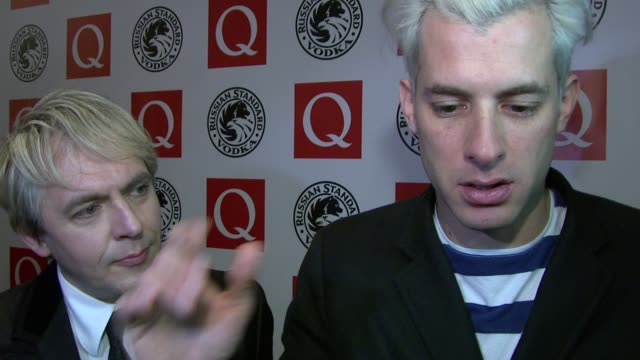 nick rhodes and mark ronson on winning the award and his sound at the q awards at london england - nick rhodes stock videos & royalty-free footage