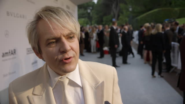 interview nick rhodes on being at amfar at amfar red carpet at hotel du capedenroc on may 22 2014 in cap d'antibes france - nick rhodes stock videos & royalty-free footage