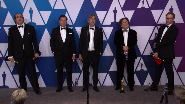 speech nick vallelonga brian currie peter farrelly charles b wessler and jim burke of 'green book' at the 91st academy awards press room at dolby... - アカデミー賞点の映像素材/bロール