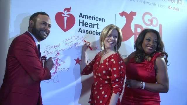 nick verreos, elizabeth banks and star jones at aha's go red for women national wear red day at macy's at macy's herald square on 02/03/12 in new york - star jones stock videos & royalty-free footage