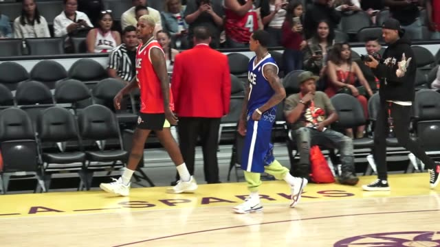nick young and jordan clarkson at the chris brown x ace family charity basketball match at staples center in los angeles at celebrity sightings in... - television game show stock videos & royalty-free footage
