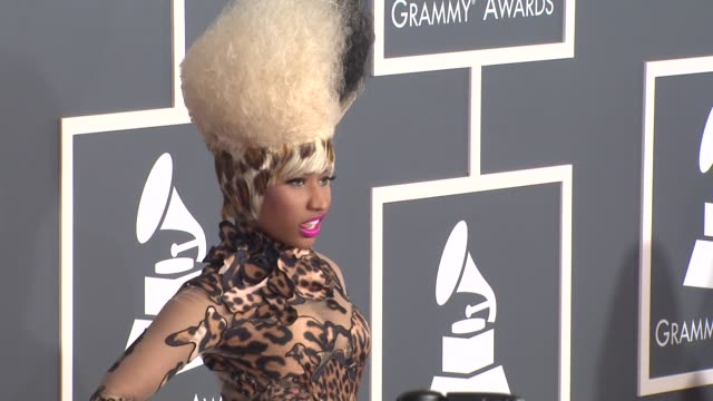 nicki minaj at the 53rd grammy awards arrivals at los angeles ca - grammys stock videos & royalty-free footage