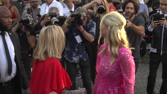 nicky hilton and kathy hilton arrive at the valentino haute couture fall winter 2018/2019 show as part of paris fashion week on july 4, 2018 in... - valentino designer label stock videos & royalty-free footage