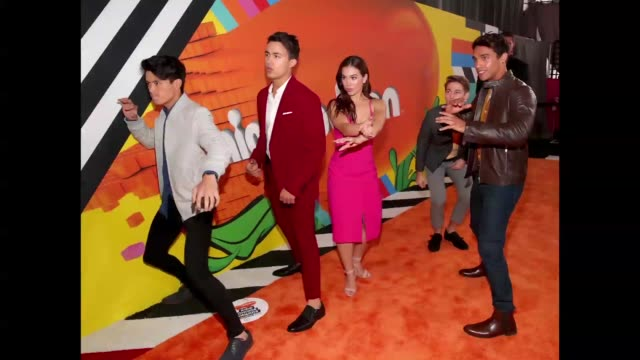 nico greetham william shewfelt chrysti ane peter adrian sudarso and jordi webber attend nickelodeon's 2018 kids' choice awards at the forum on march... - nickelodeon kid's choice awards stock videos & royalty-free footage