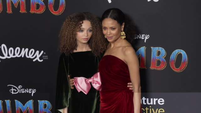 nico parker and thandie newton at the dumbo world premiere at the el capitan theatre on march 11 2019 in hollywood california - thandie newton stock videos & royalty-free footage