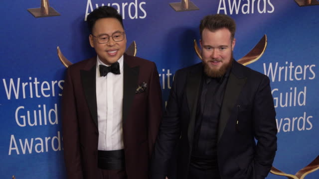 nico santos and zeke smith at the 2020 writers guild awards at the beverly hilton hotel on february 01, 2020 in beverly hills, california. - the beverly hilton hotel stock videos & royalty-free footage