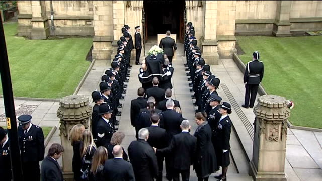 pc nicola hughes funeral in manchester cathedral england manchester ext funeral cortege of pc nicola hughes lead through city centre by mounted... - funeral procession stock videos & royalty-free footage