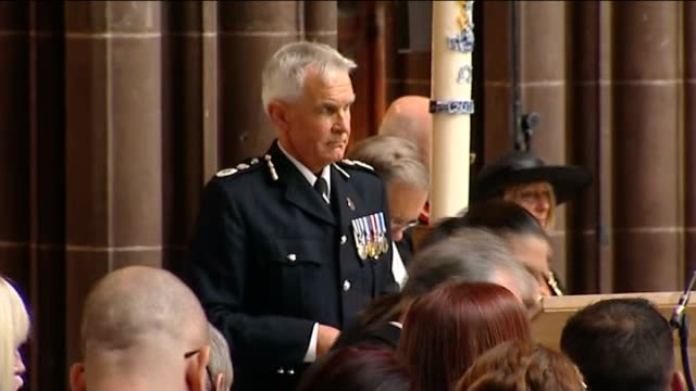 pc nicola hughes funeral in manchester cathedral manchester cathedral funeral service underway as hymn sung sot chief constable of greater manchester... - eulogy stock videos & royalty-free footage