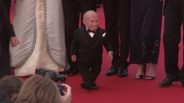 stockvideo's en b-roll-footage met nicola percorini model lily cole director terry gilliam actor andrew garfield actor verne troyer at the cannes film festival 2009 the imaginarium of... - terry gilliam