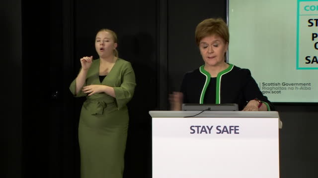 """nicola sturgeon advising people to holiday in scotland as it will avoid the coronavirus dangers faced with foreign travel and it will help the... - """"bbc news"""" video stock e b–roll"""