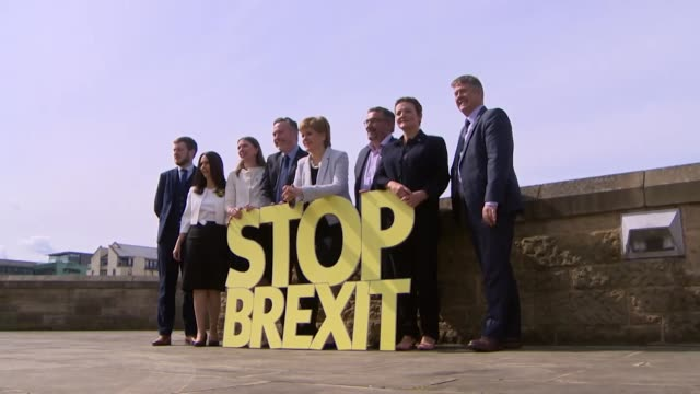nicola sturgeon and snp photocall with stop brexit sign at launch of their european election campaign in edinburgh - nicola sturgeon stock videos & royalty-free footage