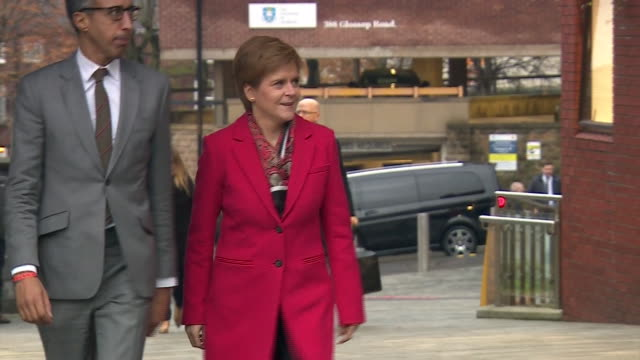 nicola sturgeon arriving for the live question time debate in sheffield - bbc点の映像素材/bロール