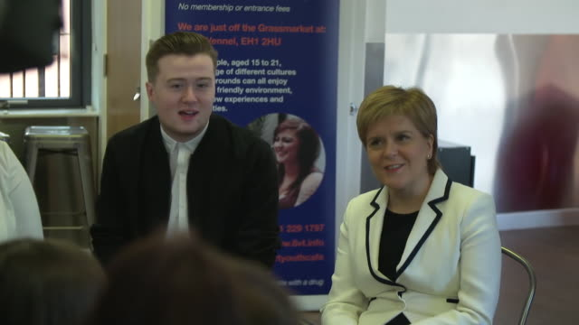 nicola sturgeon at a q a with young people in edinburgh - q and a stock videos & royalty-free footage