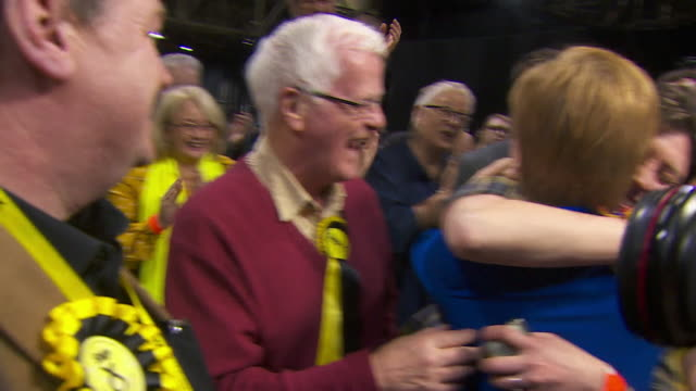 nicola sturgeon celebrates with snp candidates after a good night for the party in the general election - nicola sturgeon stock videos & royalty-free footage