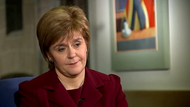 nicola sturgeon channel 4 news interview england london int nicola sturgeon msp interview sot talks of labour party pink campaign bus being... - alex salmond stock videos & royalty-free footage