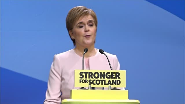 nicola sturgeon claims the conservative government is holding scotland back scotland aberdeen int nicola sturgeon msp speech at scottish national... - itv weekend evening news点の映像素材/bロール