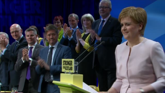 nicola sturgeon claims the conservative government is holding scotland back scotland aberdeen int nicola sturgeon msp arriving at scottish national... - itv weekend evening news点の映像素材/bロール