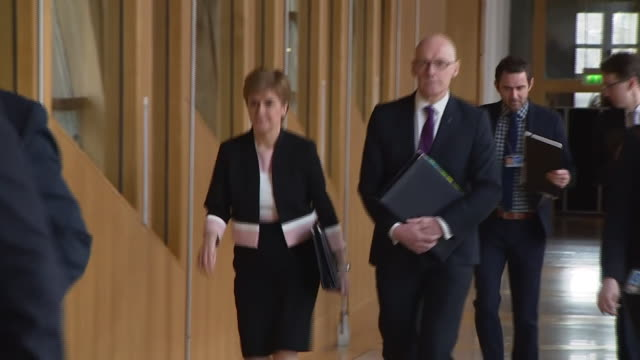 nicola sturgeon entering the scottish parliament building - scottish national party stock videos & royalty-free footage