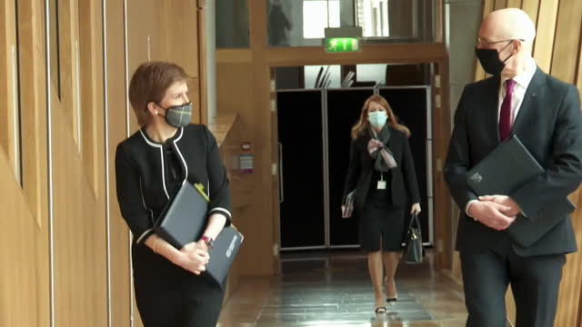 nicola sturgeon, first minister of scotland, arriving at holyrood parliament after being cleared of misleading parliament over the alex salmond... - party social event stock videos & royalty-free footage