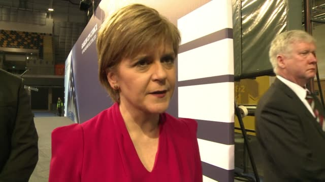 nicola sturgeon hails historic election and reiterates she would work with ed miliband to turf david cameron out of downing street if possible - zolla video stock e b–roll