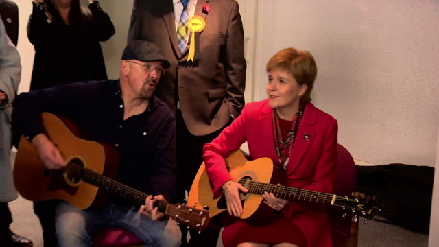 nicola sturgeon holds guitar and sings i'm a believer with musicians at dalkeith community centre on general election campaign trail - guitar stock videos & royalty-free footage