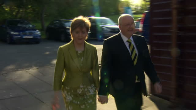 nicola sturgeon & husband peter murrell place their votes in glasgow. shows exterior shots nicola sturgeon arriving at polling station with her... - nicola sturgeon stock videos & royalty-free footage