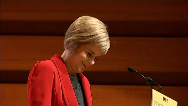 perth int nicola sturgeon msp greeting supporters at snp party conference audience applauding as sturgeon prepares to deliver speech nicola sturgeon... - tartan stock videos & royalty-free footage