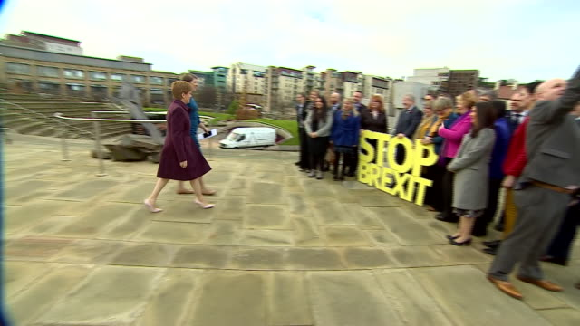 nicola sturgeon posing with a 'stop brexit' sign in edinburgh - road sign stock videos & royalty-free footage