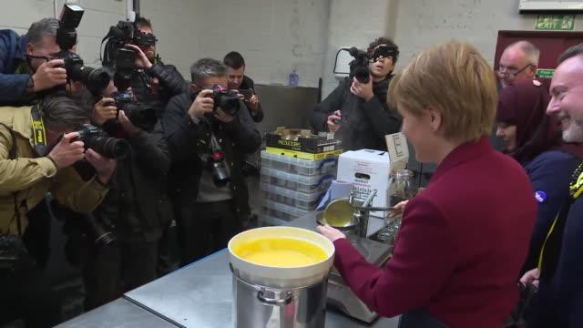 nicola sturgeon pouring custard on the campaign trail - custard stock videos & royalty-free footage