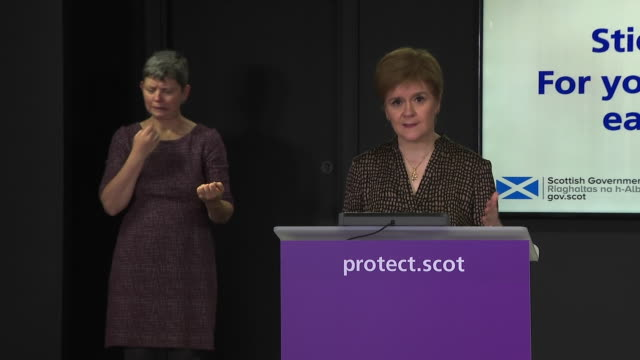 "nicola sturgeon saying governments are ""trying to strike an almost impossible balance between lives and jobs"" during the coronavirus crisis - balance stock videos & royalty-free footage"