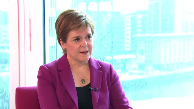 nicola sturgeon saying if she took the uk government to court it would be because they refused to accept the democratic will of the scottish people - politics concept stock videos & royalty-free footage