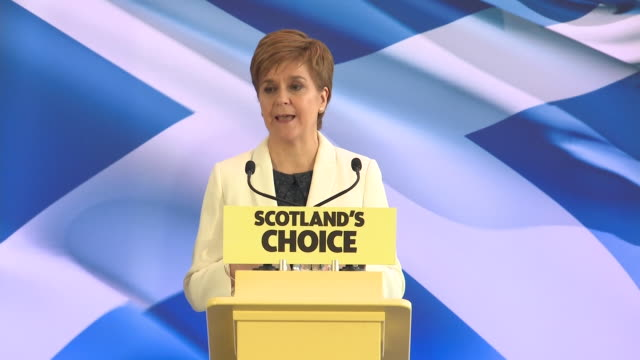 """nicola sturgeon saying """"it is time to win scotland's independence"""" on 'brexit day' - scottish culture stock videos & royalty-free footage"""